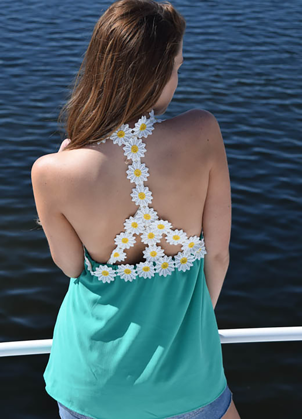 JADE BUBBLE CREPE HALTER TOP W/ DAISY PEACE SIGNT DETAIL ON BACK