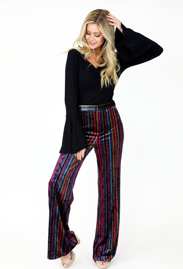 VELVET STRIPED PANTS
