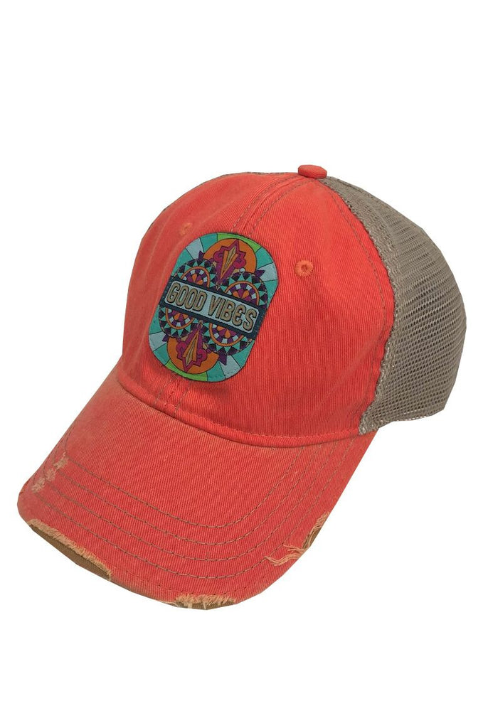 GOOD VIBES HAT- CORAL