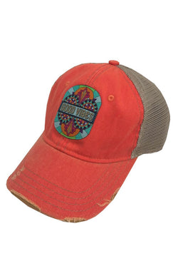 JUDITH MARCH GOOD VIBES PATCH - CORAL HAT