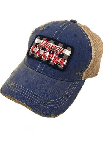 JUDITH MARCH BUFFALO PLAID HAPPY CAMPER PATCH - BLUE HAT