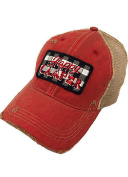 JUDITH MARCH BUFFALO PLAID HAPPY CAMPER PATCH - RED HAT