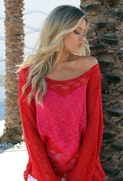 Judith March Red And Pink Open Knit Sweater