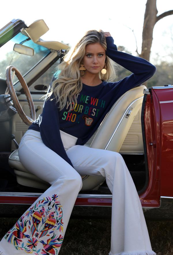 "Judith March Navy Sweatshirt With ""Hit Me With Your Best Shot"""