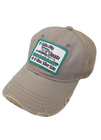 "JUDITH MARCH ""I LIKE BIG BOATS AND I CANNOT LIE"" PATCH - GREY HAT"