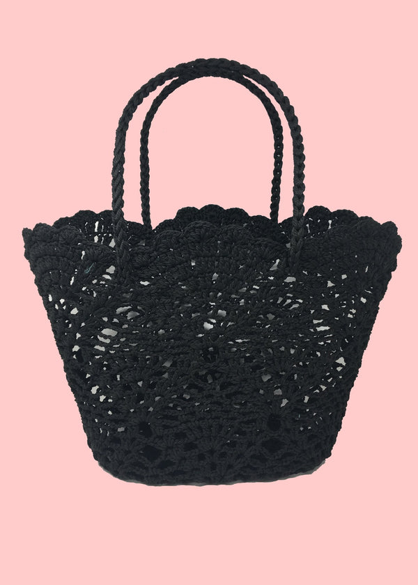 BLACK STRAW BAG