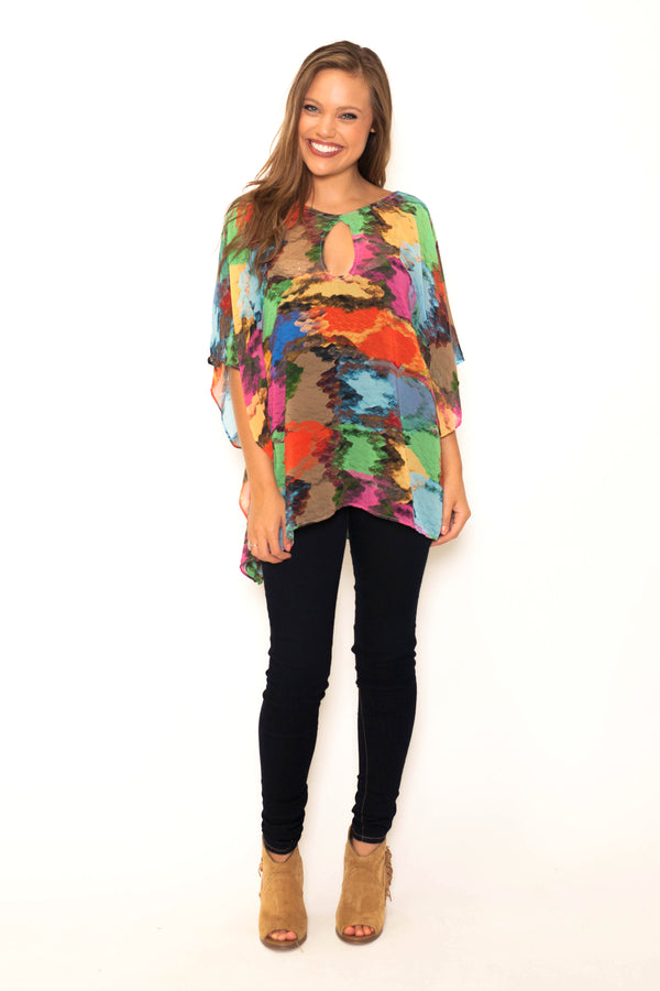 JUDITH MARCH PARTY PYTHON PRINT KEYHOLE NECKLINE PONCHO