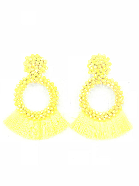 Yellow Hoop Tassel Earring