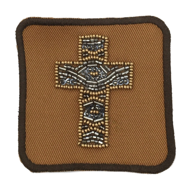 Judith March beaded cross patch on grey hat