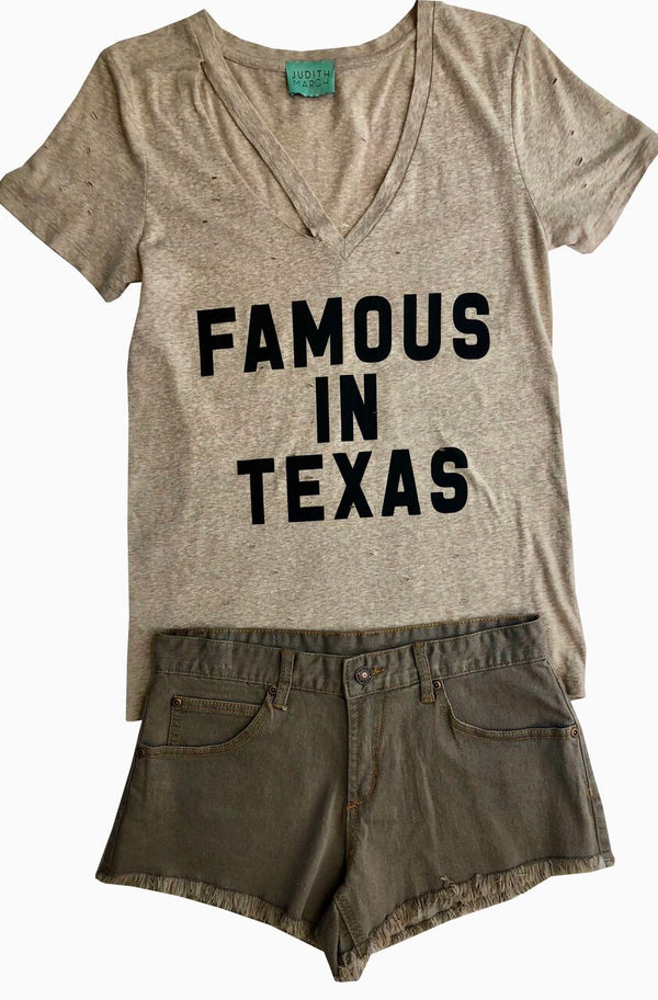 "Oatmeal V-Neck Distressed Holy Tee W/ ""Famous In Texas"""