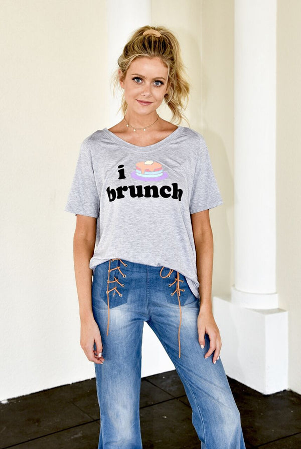 "Grey Tee W/ ""I Pancake Brunch"""