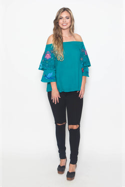 Jade Embroidered Off The Shoulder Top