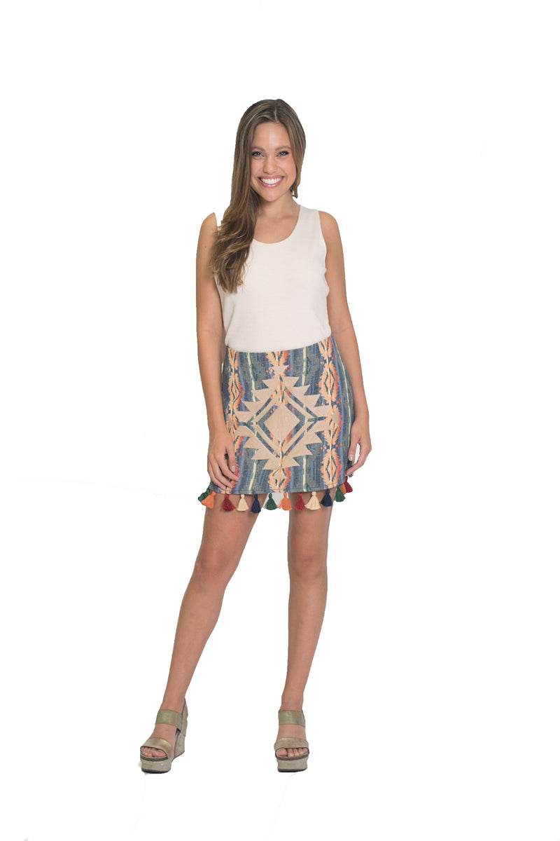 JACQUARD SKIRT WITH MULTI COLOR TASSEL TRIM DETAIL