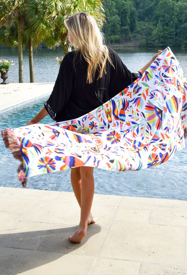 Fiesta Print Towel With Multi Fringe