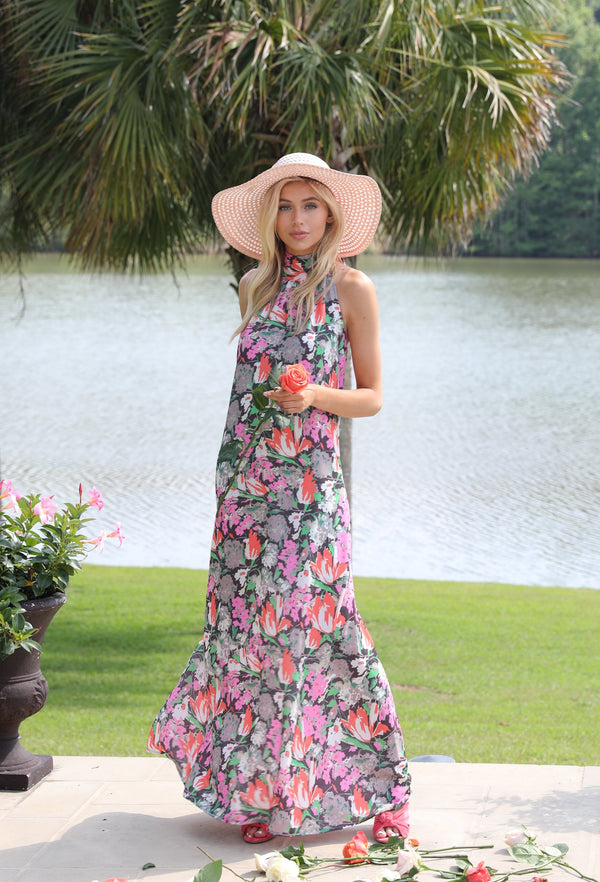 Midnight Bloom Halter Maxi Dress