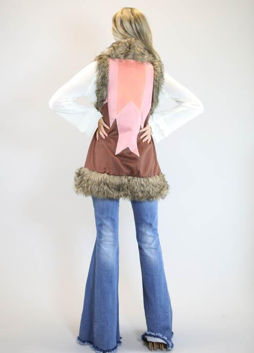 Multi Color Faux Suede Vest W/ Fur Trim Detail