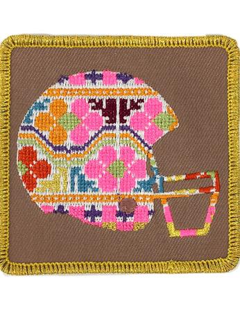 JUDITH MARCH MULTI COLORED FOOTBALL HELMET PATCH - GREY HAT