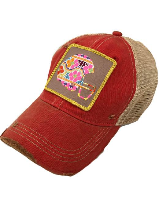 JUDITH MARCH MULTI COLORED FOOTBALL HELMET PATCH - RED HAT