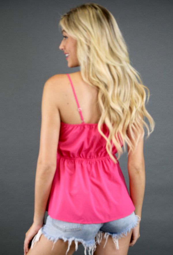 RASPBERRY TIE FRONT TOP