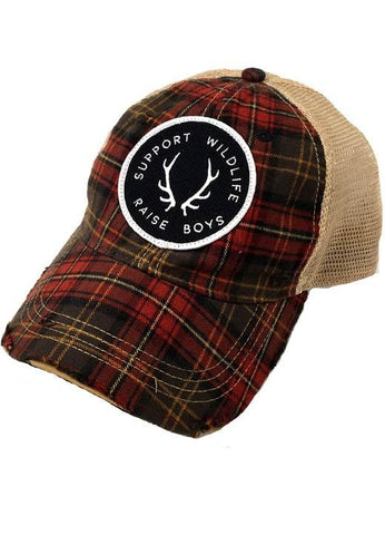 JUDITH MARCH SUPPORT WILDLIFE RAISE BOYS PATCH - PLAID HAT