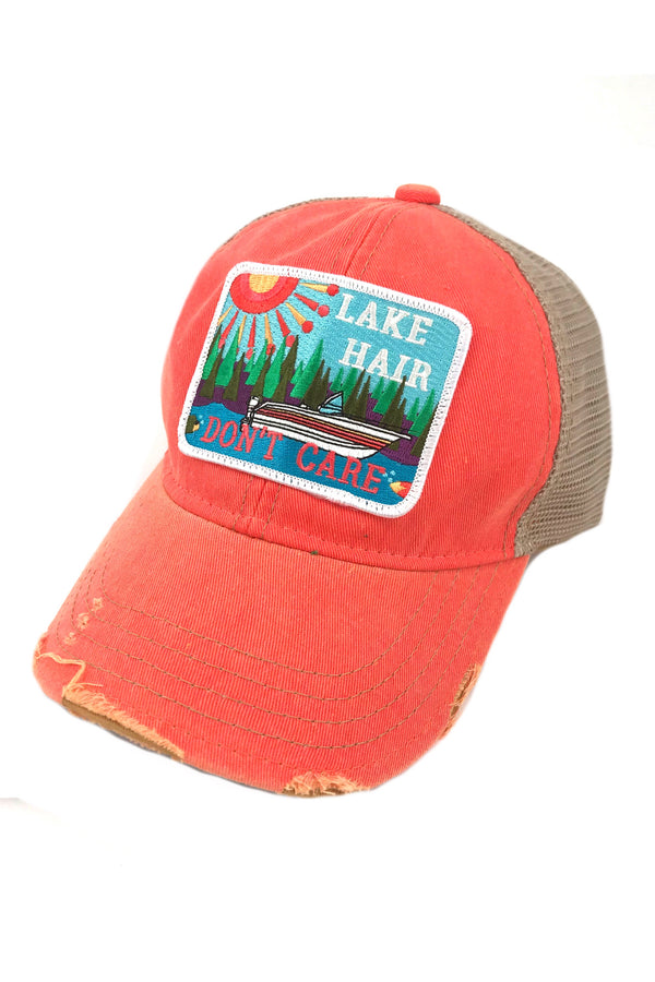 JUDITH MARCH ABSTRACT LAKE HAIR DON'T CARE PATCH - CORAL HAT