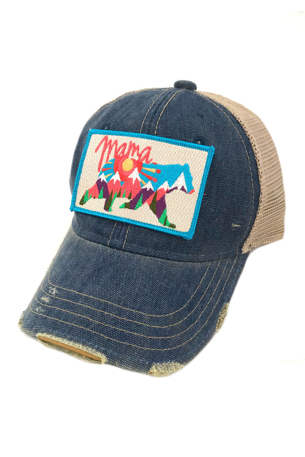 JUDITH MARCH ABSTRACT MAMA BEAR PATCH - BLUE HAT