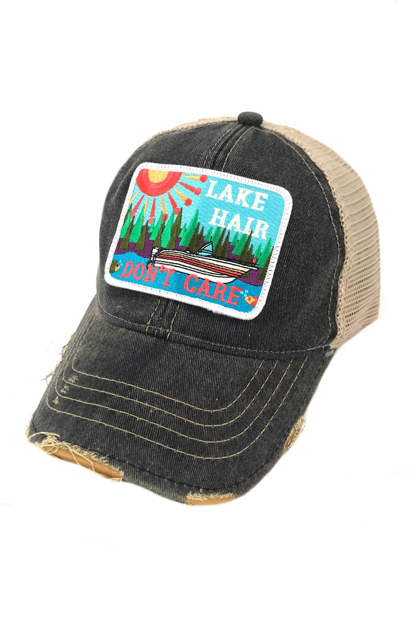 JUDITH MARCH ABSTRACT LAKE HAIR DON'T CARE PATCH - NAVY HAT
