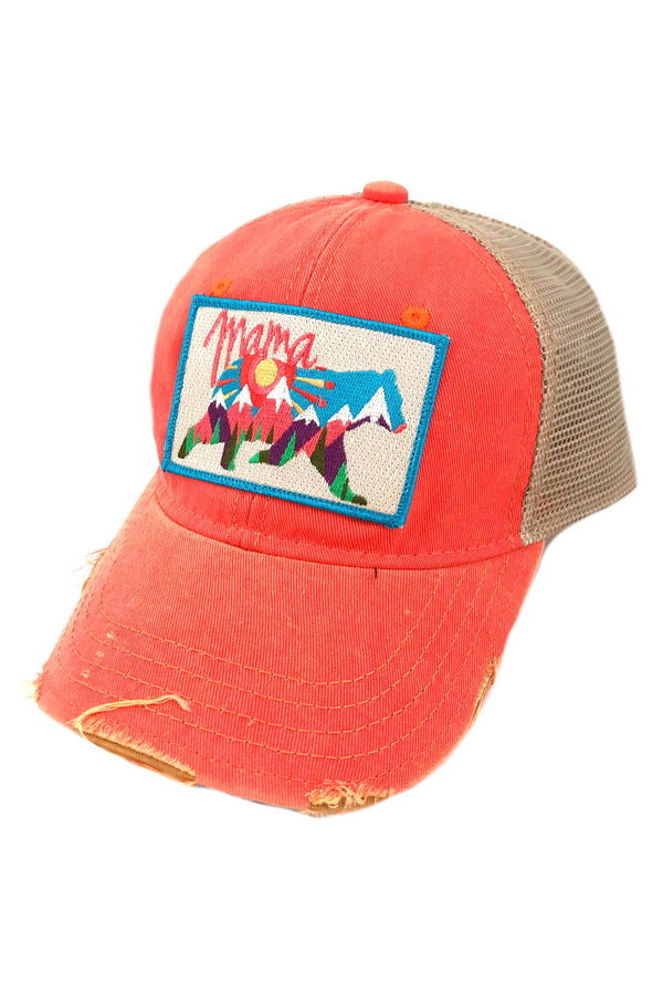 JUDITH MARCH ABSTRACT MAMA BEAR PATCH - CORAL HAT