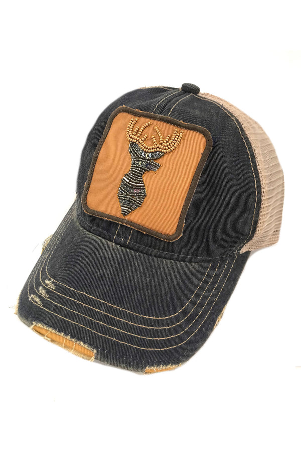 JUDITH MARCH BEADED DEER PATCH - NAVY HAT
