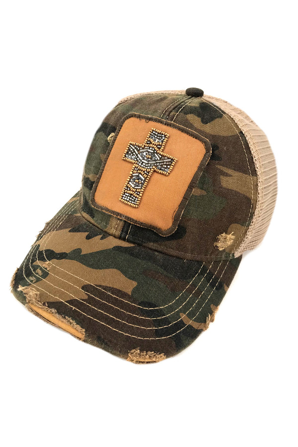 JUDITH MARCH BEADED CROSS PATCH - CAMO HAT