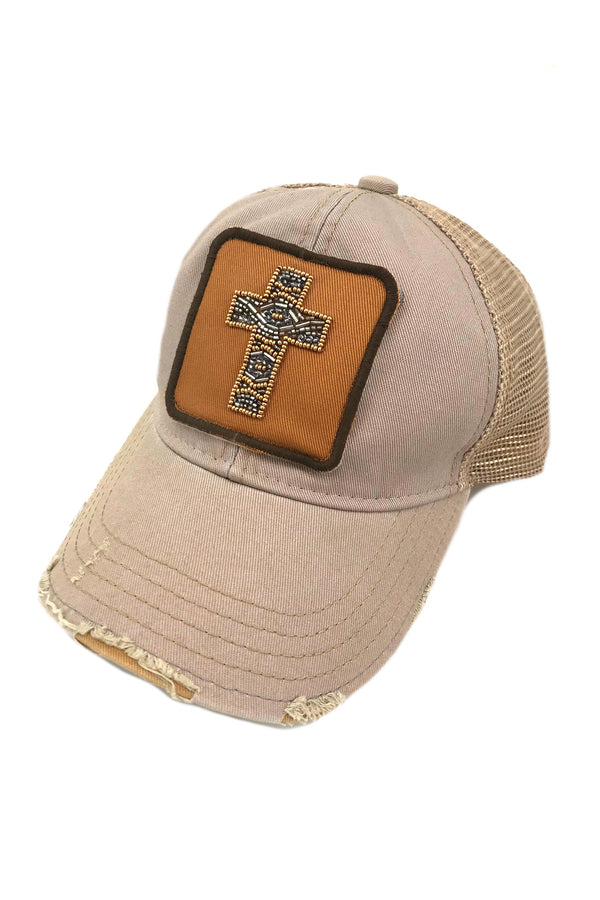 JUDITH MARCH BEADED CROSS PATCH - GREY HAT