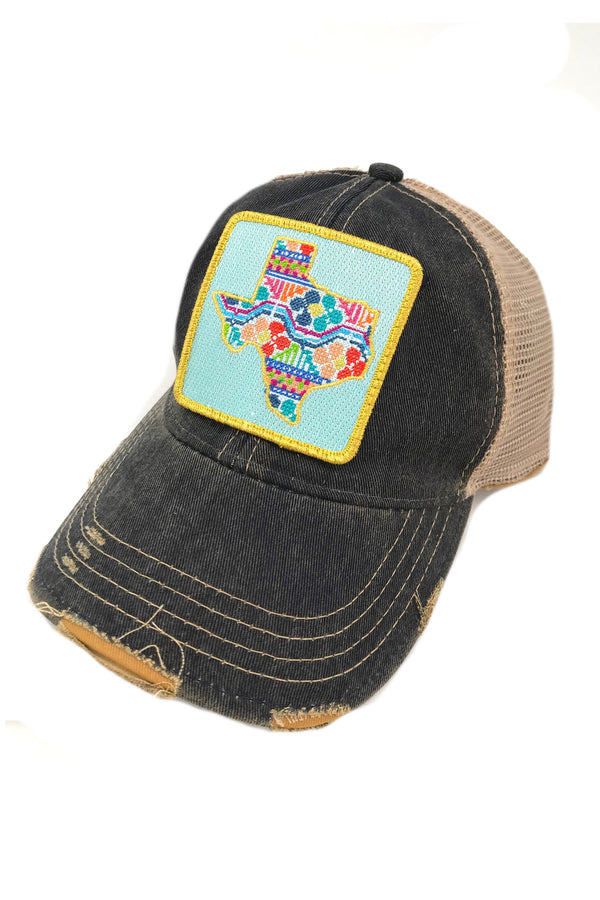 JUDITH MARCH PATCHWORK TEXAS PATCH - NAVY HAT