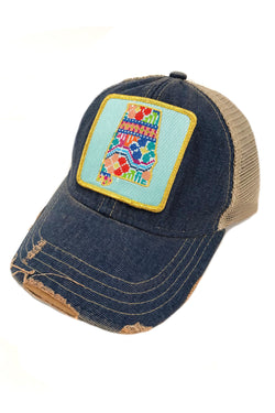 JUDITH MARCH PATCHWORK ALABAMA PATCH - BLUE HAT