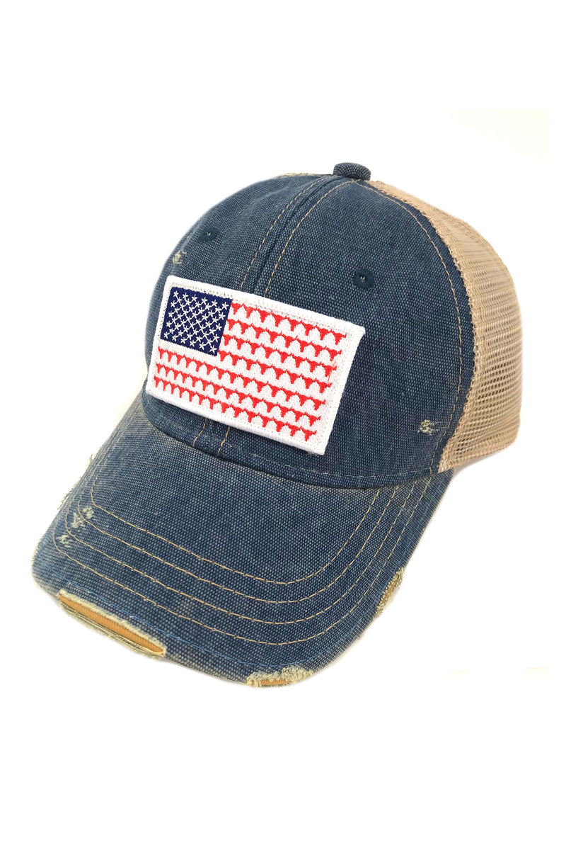 JUDITH MARCH FLAG STEERHEAD PATCH - BLUE HAT