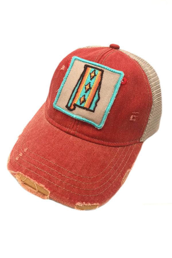 JUDITH MARCH SOUTHWEST STRIPE ALABAMA PATCH - RED HAT