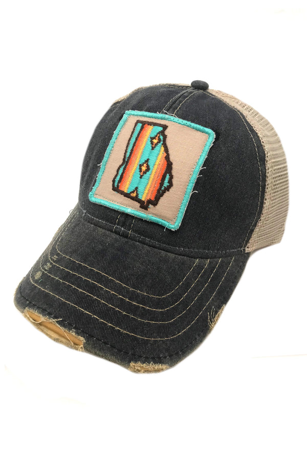 JUDITH MARCH SOUTHWEST STRIPE GEORGIA PATCH - NAVY HAT