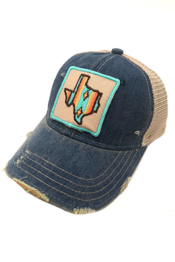 JUDITH MARCH SOUTHWEST STRIPE TEXAS PATCH - BLUE HAT