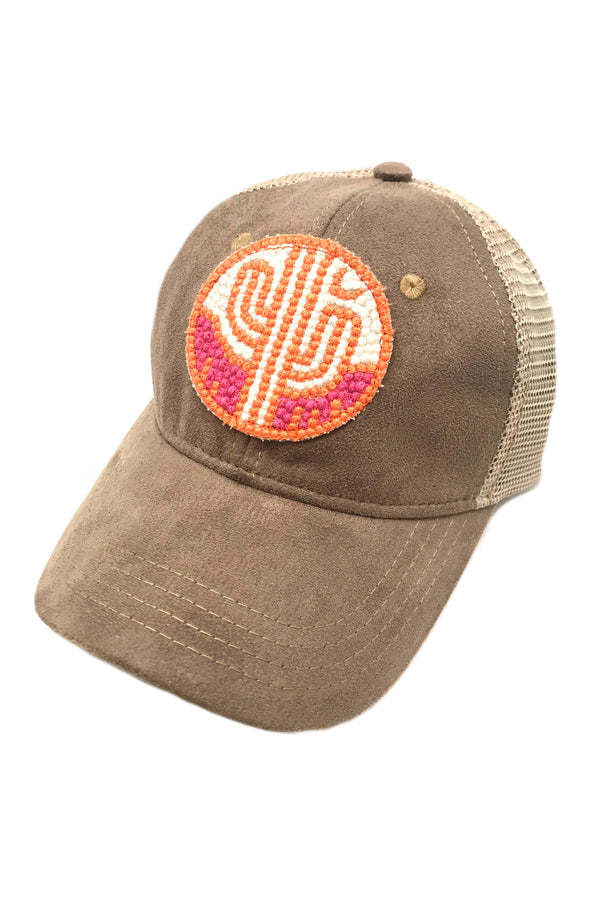 JUDITH MARCH ORANGE & PINK CACTUS PATCH - SUEDE HAT