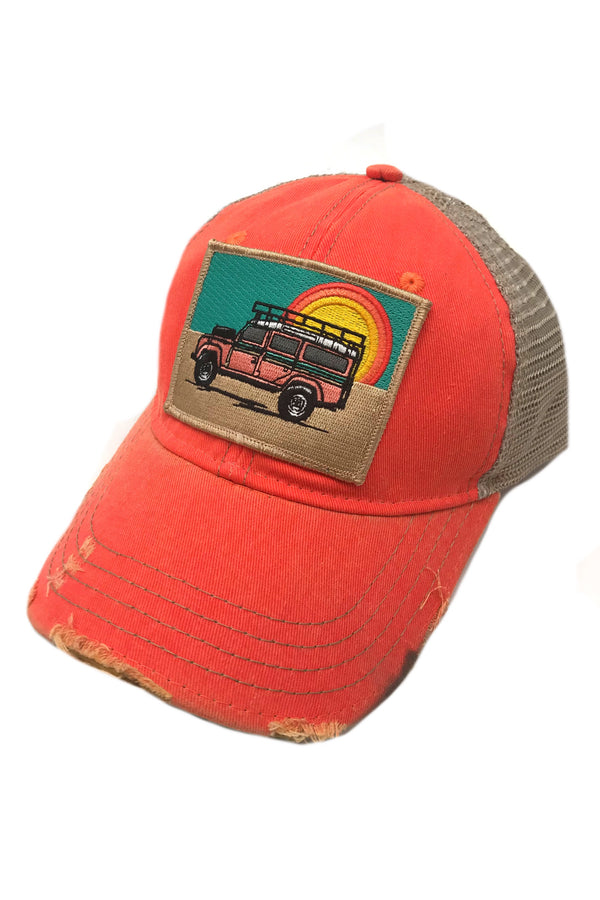 JUDITH MARCH SUNSET LAND ROVER PATCH - CORAL HAT
