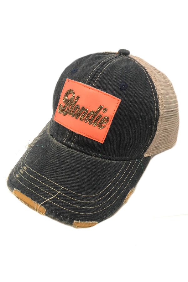 JUDITH MARCH PINK BEADED LEATHER BLONDIE PATCH - NAVY HAT