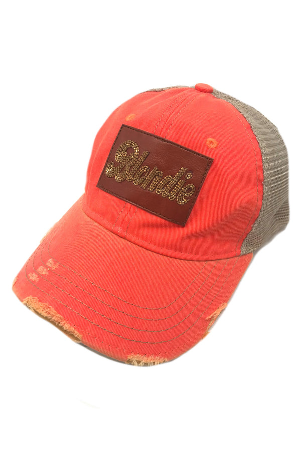 JUDITH MARCH BEADED LEATHER BLONDIE PATCH - CORAL HAT