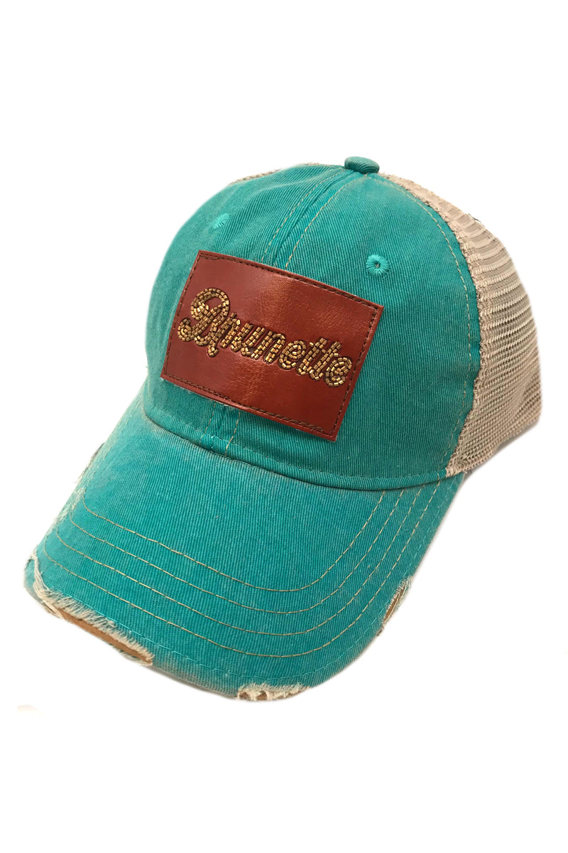 JUDITH MARCH BEADED LEATHER BRUNETTE PATCH - JADE HAT