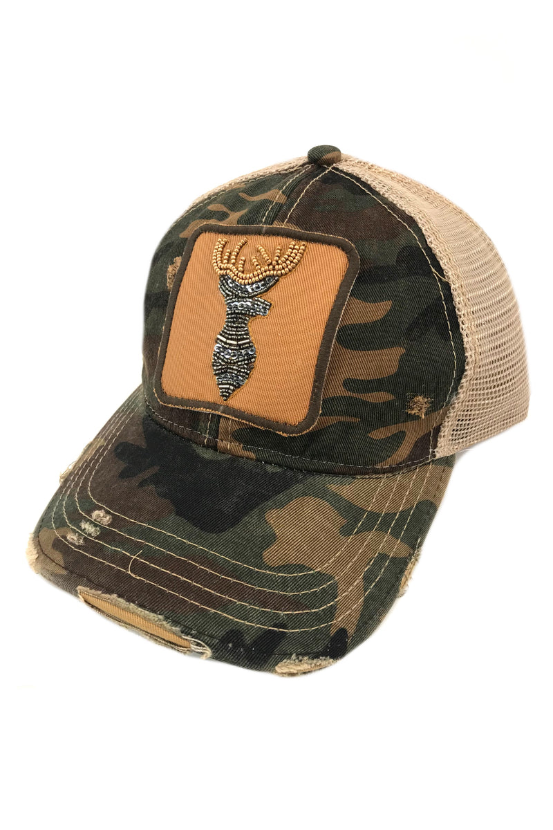 JUDITH MARCH BEADED DEER PATCH - CAMO HAT