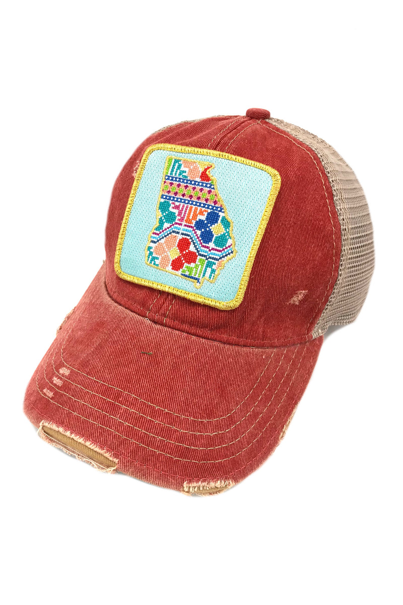 JUDITH MARCH PATCHWORK GEORGIA PATCH - RED HAT