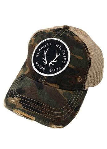 JUDITH MARCH SUPPORT WILDLIFE RAISE BOYS PATCH - CAMO HAT