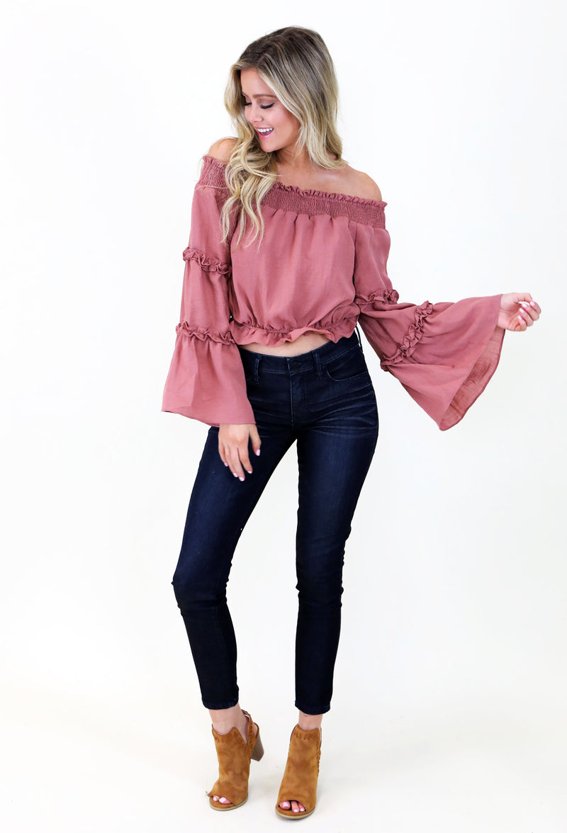 OFF THE SHOULDER TOP WITH FLOUNCE SLEEVES - ROSE