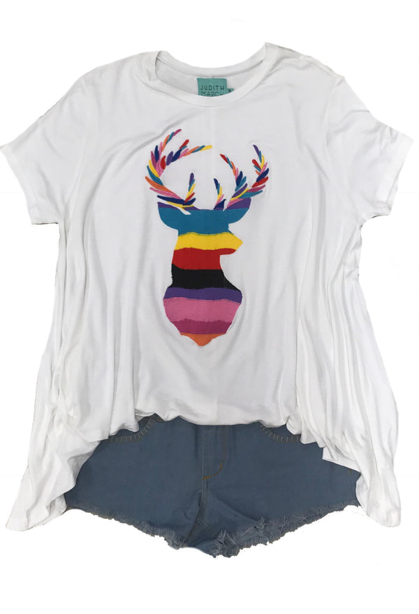 Judith March Mexican wave embroidered deer flow tee.