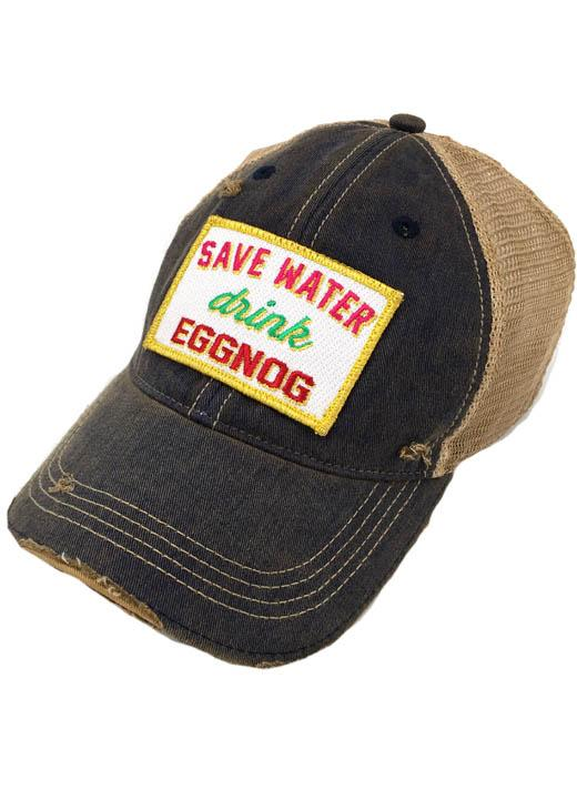 JUDITH MARCH SAVE WATER DRINK EGGNOG PATCH - NAVY HAT