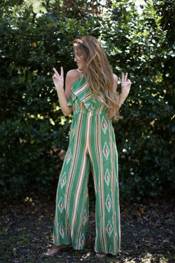 JUDITH MARCH GREEN AZTEC JACQUARD HALTER JUMPSUIT W/ RUFFLE DETAIL