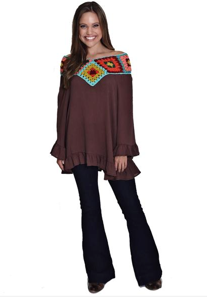 JUDITH MARCH BROWN RAYON CREPE PONCHO WITH GRANNY SQUARE NECKLINE